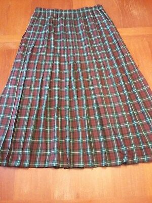 Vintage Marisa Christina Classics Large Pleated Plaid Rayon Wool blend Skirt EUC
