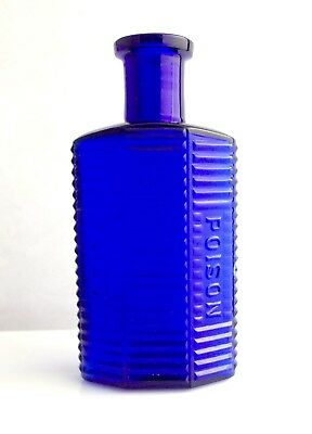 """Cobalt Blue POISON BOTTLE 6 Side Striped 4 1/2"""" tall Apothecary Medicine Antique"""