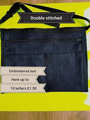 Market Trader Denim Money Bag with Adjustable strap  personal embroidered text