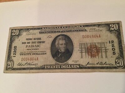 1929 $20 The Passaic National Bank Of Passaic, Nj National Currency #12205
