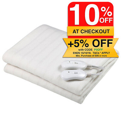 Heller Tie Down Queen Size Electric Blanket Washable/3 Heat for Mattress/Bed