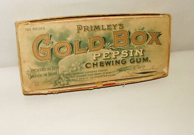 %  1920-30's Primley's Gold Box Chewing Gum Advertising Box