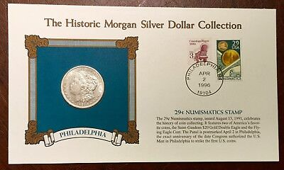 1921 P Morgan Silver Dollar W/ Stamp And 1889 Philadelphia National Bank Note