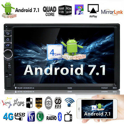 "7"" Quad-Core 1080P Android 7.1 3G/4G WIFI 2 DIN Car Radio Stereo MP5 Player GPS"