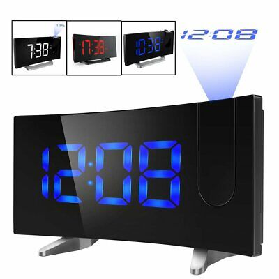 "LCD Digital LED Projector Projection FM Radio Snooze Alarm Clock 5"" Screen USA"