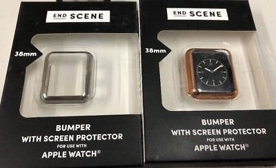 2 End Screen Bumper With Screen Protector For Apple Watch Rose Gold/Silver 38MM