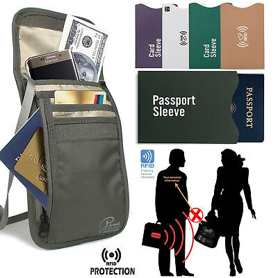 RFID Blocking Neck Stash Pouch Travel Wallet Security Passport Holder Pocket Bag