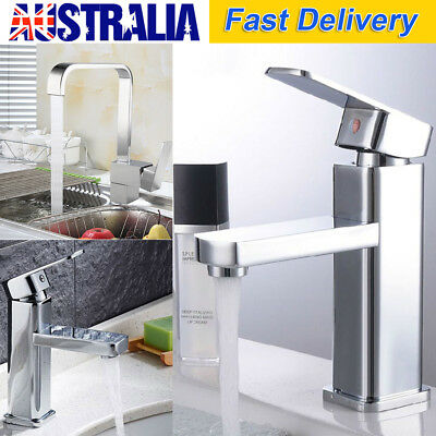 Square Bathroom Kitchen laundry Basin Sink/Rotating Faucet Tap wels Chrome Brass