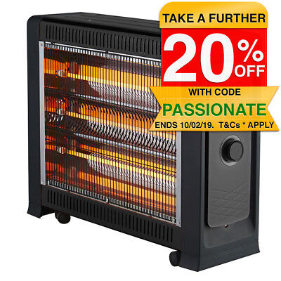 Heller 2400W Quartz Radiant Heater Fan Assisted Portable Electric Panel Heating
