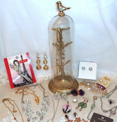 Superb Lot Of Jewelry W/glass Case Vintage-New Incl. Sterling Crystal More
