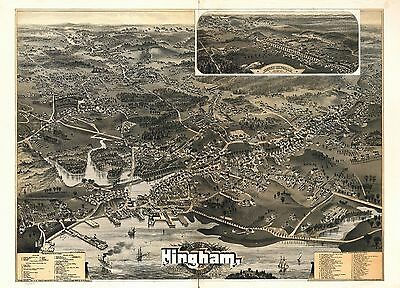 1885 HINGHAM old MASSACHUSETTS map GENEALOGY atlas  poster PLYMOUTH county 43
