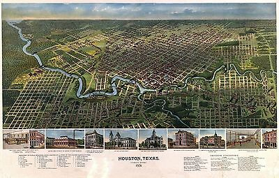 1891 HOUSTON old TEXAS map GENEALOGY atlas  poster HARRIS antique county TX 14