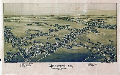pa104 Antique old map PENNSYLVANIA genealogy family history MILLERSVILLE 1894