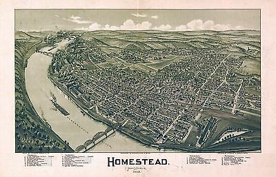 HOMESTEAD PENNSYLVANIA 1902 Antique old map genealogy family history pa80