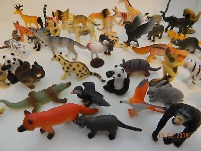 12 Mini plastic Wild Animals! Zoo! Safari! Educational Lions Tigers Birds Monkey