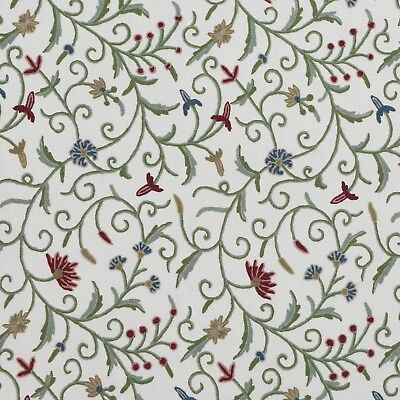 Kashmir Green Crewel Fabric Hand Embroidered Wool On Cotton
