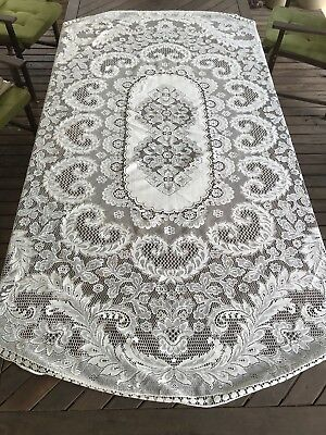 Vintage Off White Large Oval Machine Lace Crochet Tablecloth - Upcycle or Use