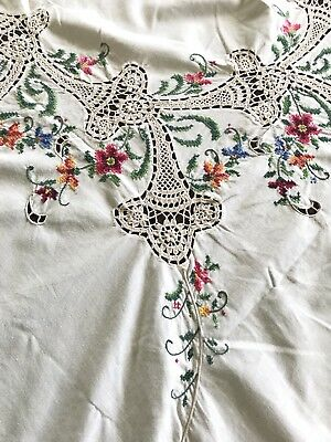 Large Floral Vintage Tablecloth Embroidered Cross Stitch Flowers & Crochet Inlay