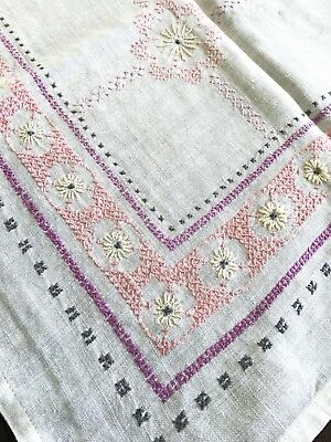 Vintage White Cross Stitch Embroidered Tablecloth, Yellow Flowers Pink & Purple