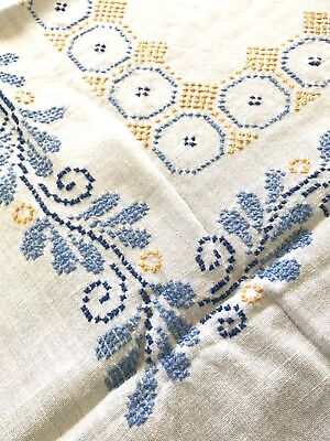 Sweet Vintage White Linen Cross Stitch Embroidered Tablecloth, Yellow & Blue