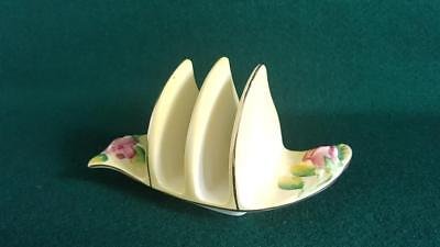 "Sought-after 1950s Royal Winton Yellow Glaze ""Rosebud"" 3 Bar Toast Rack"