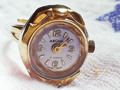 Vintage Antique? Burgana Swiss made gold (colour?) watch ring, adjustable size