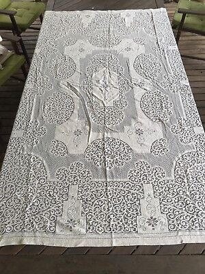 Vintage Off White Large Rectangle Machine Lace Crochet Tablecloth - Upcycle