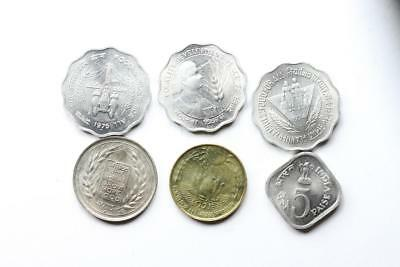 FAO / F.A.O. India  - lot of 6 coins - uncirculated