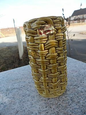 Vintage Wicker Weave by E O Brody Japan N-260 Mustard Yellow Vase Mint