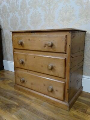 Fabulous Antique Victorian waxed pine Blanket box modelled as a chest of drawers