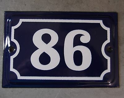 Antique French Dark Blue Enamel Porcelain Door House Gate Number Sign Plate 86