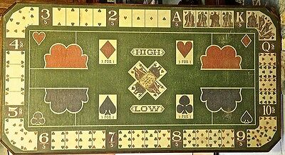 "Antique ""DIANA"" card game layout board authentic Old West artifact  29 "" X 54"""
