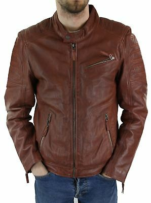 Mens Tan Brown Short Biker Real Leather Jacket Vintage Tailored Fit Genuine