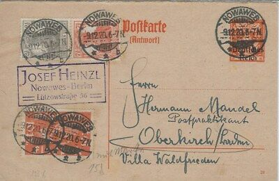 DR Postkarte Ganzsache P124 A - Nowawes n. Oberkirch - o 1920 /  Flugpost + Zdr.