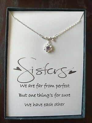 Sterling silver Flower Pendant Necklace With poem for Sister