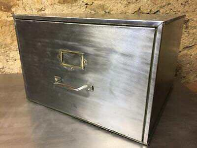 Vintage Industrial Stripped Metal 1 Drawer  Filing Cabinet Foolscap Storage