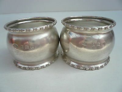 Silver Napkin Rings, Sterling, PAIR, English, Serviette, Vintage Hallmarked 1919