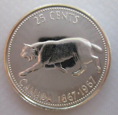 1967 Canada 25 Cents Proof-Like Silver Coin