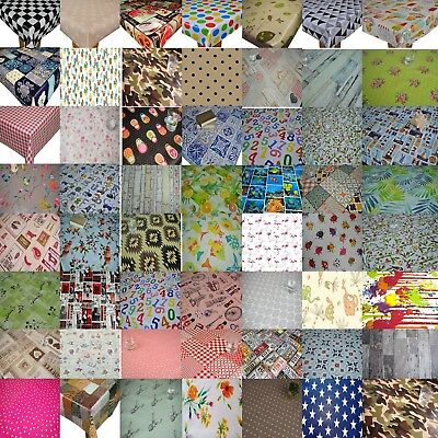 WIPE CLEAN TABLECLOTH COVER VINYL OILCLOTH WIPEABLE PROTECTOR 140 x 100 cm
