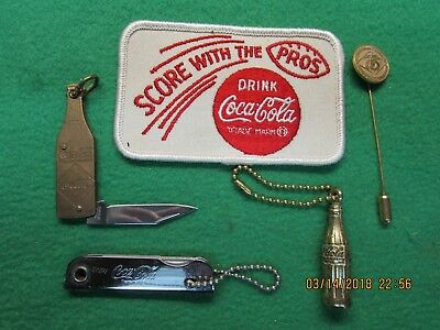 Coca Cola Items (lot of 5)  Patch, 75th Pin, Knife, Key chains