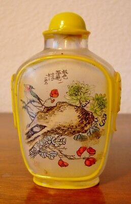 Vintage Chinese reverse hand painted glass snuff bottle, scene and flowers, bird