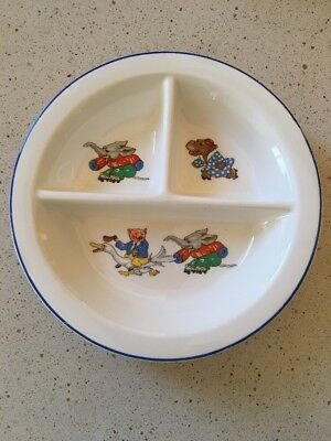"Crown Potteries 8.5"" Divided Child's Bowl Elephant Hippo & Pig Made In 1930"