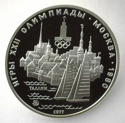 Russia 1977 Silver 5 Roubles -Tallinn- Perfect Proof Dcam Y#148