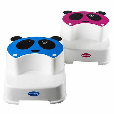 Baby Double Step Stool The Winking Panda by LuvdBaby Anti-Slip Childs Foot Stool