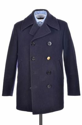 BROOKS BROTHERS Blue MOON WOOL Mens Jacket Coat Peacoat w/ Buttons - SMALL
