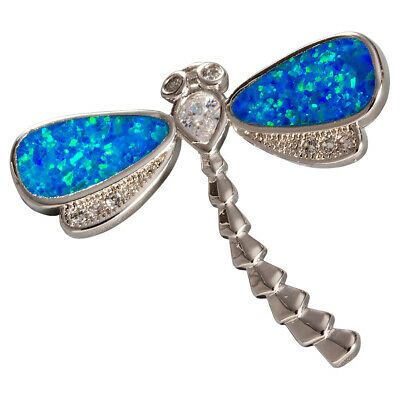 Dragonfly Ocean Blue Fire Opal CZ Moissanite Silver Jewelry Necklace Pendant