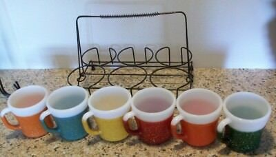 6 Fire King Glamalite Rubber Coated Coffee Mugs Drinking;Cups