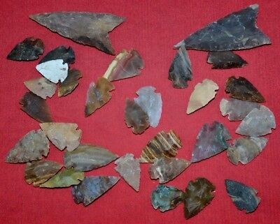 "32 PC Flint Arrowhead Ohio Collection Points 1-3"" Spear Bow Knife Hunting Blade"