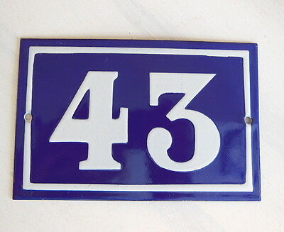 OLD FRENCH HOUSE NUMBER SIGN door gate PLATE PLAQUE Enamel steel metal 43 Blue
