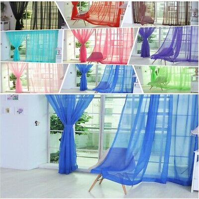 1Pc Room Floral Tulle Voile Door Window Curtain Drape Panel Sheer Valance Blue
